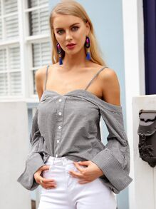 Simplee Button Front Backless Gingham Top