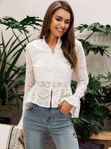 Simplee Flounce Sleeve Lace Insert Schiffy Peplum Blouse
