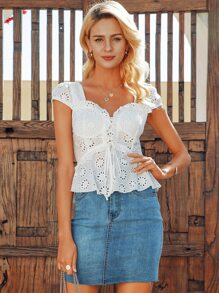 Simplee Lace Up Front Shirred Back Schiffy Top