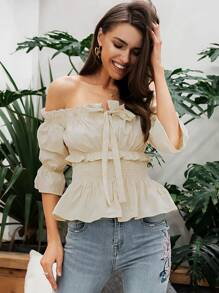 Simplee Tie Front Bardot Frill Trim Shirred Peplum Top
