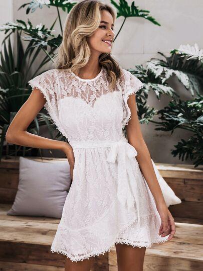 e89add7464c Simplee Zip Back Ruffle Hem Wrap Belted Lace Dress   SHEIN