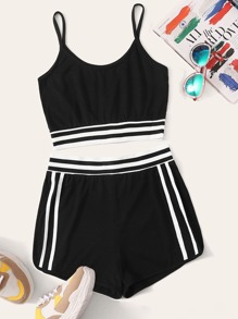 Striped Side Crop Cami Top With Shorts