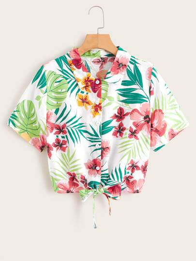 Tropical & Floral Print Button Front Knot Hem Blouse