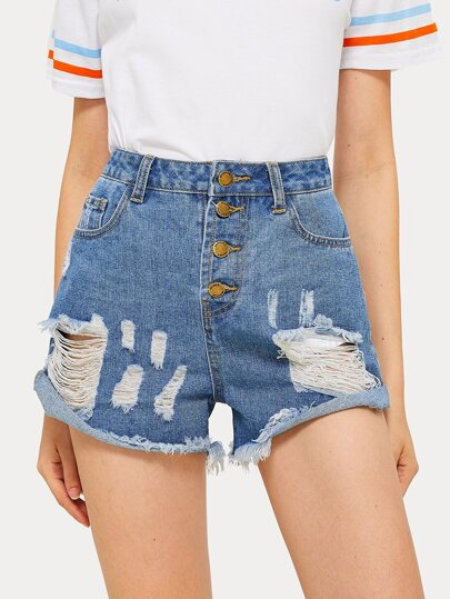 Ripped Raw Hem Button Front Denim Shorts