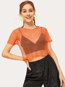 Cut Out Grid Sheer Crop Tee Without Bra