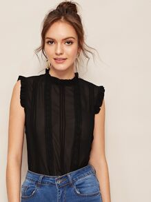 Lettuce Frill Contrast Lace Blouse