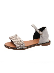Ruffle Decor Buckle Strap Sandals