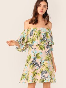 Ruffle Trim Mixed Tropical & Tiger Print Bardot Dress