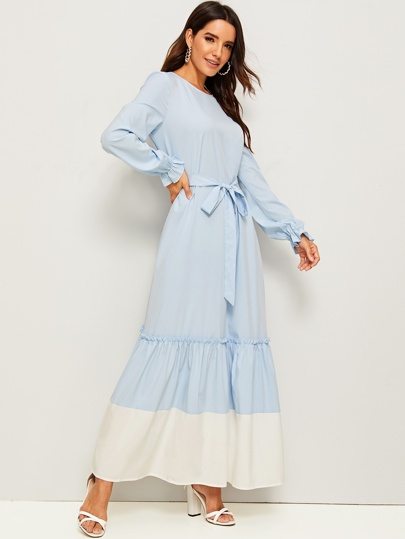 Bell Cuff Contrast Hem Belted Maxi Dress