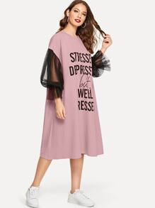 Slogan Graphic Drop Shoulder Mesh Lantern Sleeve Dress
