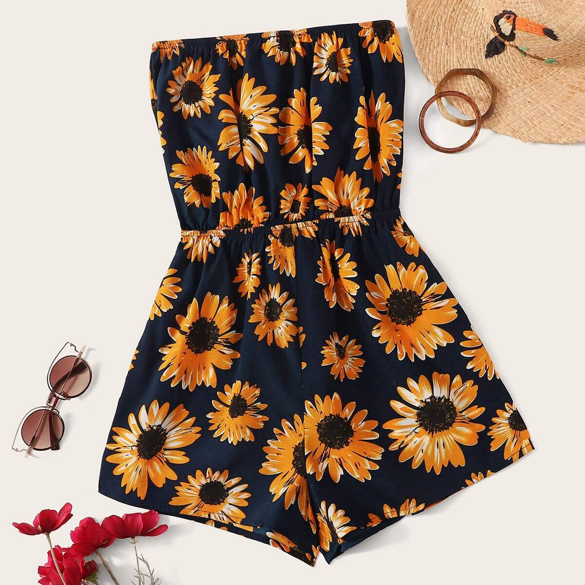 Jumpsuit mit Sonneblume Muster
