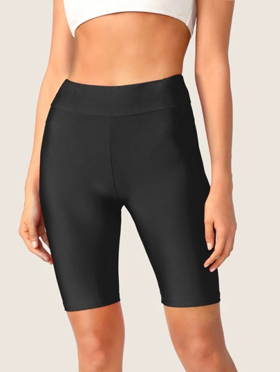 Solid Wide Waistband Cycling Shorts
