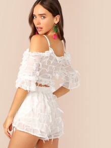 Fringe Trim Lace-up Front Bustier Top and Shorts Set