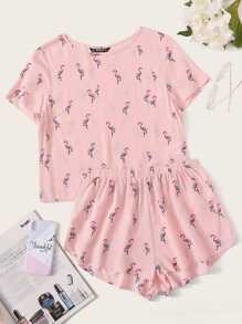 Flamingo Print Top & Shorts Set