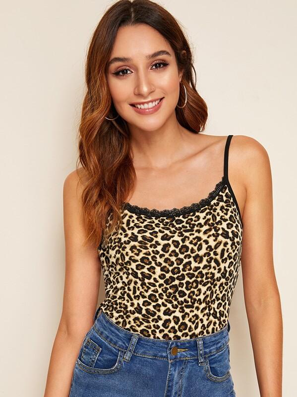 47f7959c6874 Lace Insert Leopard Print Cami Top   SHEIN UK