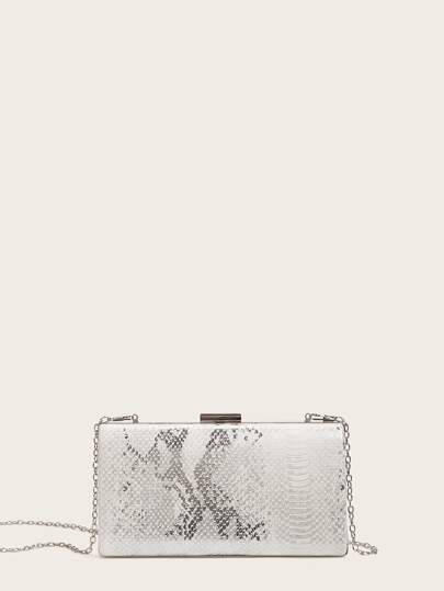Snakeskin Embossed Clutch Bag With Chain