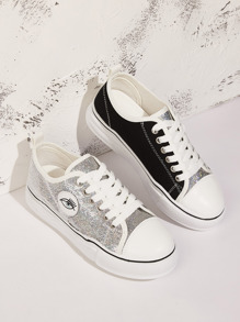 Lace-up Front Glitter Detail Canvas Sneakers