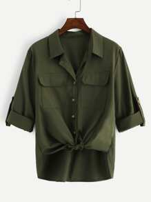 Plus Rolled Cuff Pocket Blouse