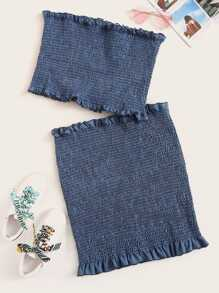 Plus Frill Trim Shirred Denim Tube Top With Skirt