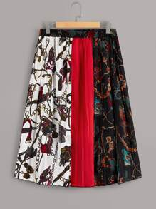 Plus Chain Print Pleated Colorblock Skirt