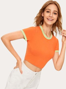 Neon Orange Crop Ringer Tee