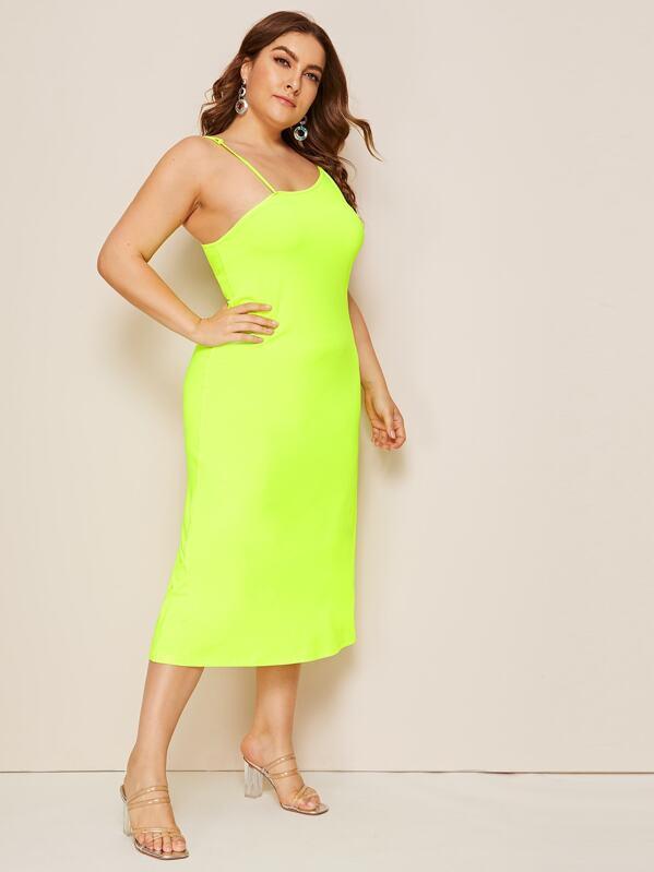 Plus Neon Lime Cami Dress | SHEIN