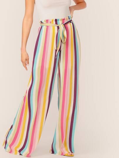 6414fedf29e Paperbag Waist Tie Wide Leg Stripe Palazzo Pants