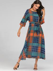 755f42c6b Glen Plaid Print Knot Drop Shoulder Maxi Dress