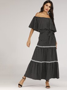 Polka Dot Off the Shoulder Maxi Dress
