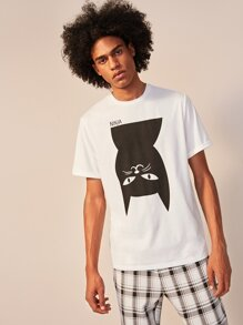 Men Letter and Cat Print Tee