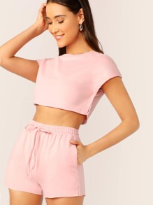 Split Side Crop Top and Slant Pocket Shorts Set