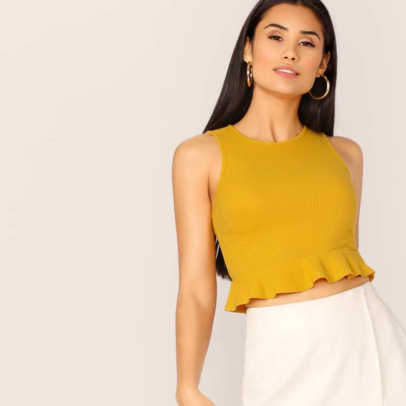 Rib-knit Peplum Crop Tank Top, Yellow