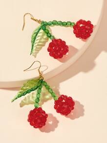 Cherry & Leaf Shaped Drop Earrings 1pair