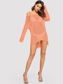 cb9951438e Drop Shoulder Slit Hem Loose Knit Cover Up | SHEIN UK