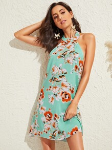 Floral Print Halter Tunic Dress