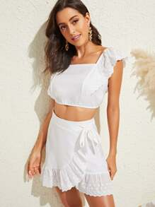Eyelet Embroidered Crop Top & Ruffle Hem Wrap Knot Skirt Set