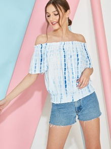 Off Shoulder Tie Dye Shirred Waist Blouse