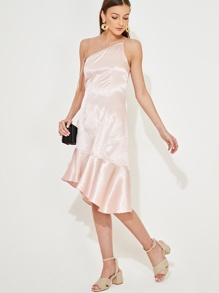One Shoulder Flounce Hem Satin Dress