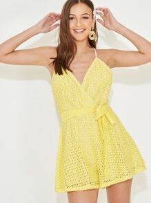 Crisscross Back Belted Lace Cami Romper