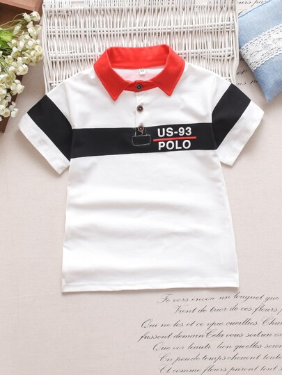 7c0a6767 Toddler Boys Letter Print Contrast Panel Polo Shirt