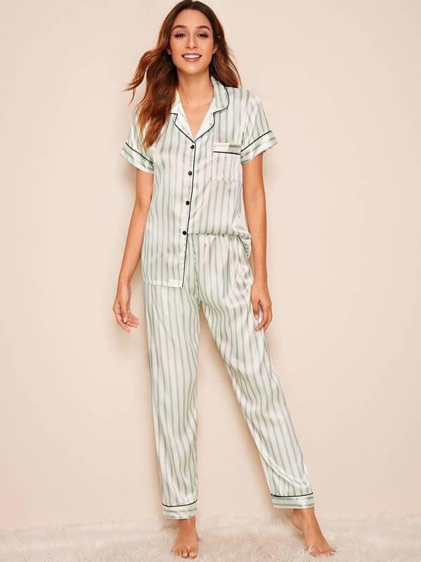 264362890 Striped Satin Shirt With Pants PJ Set   SHEIN