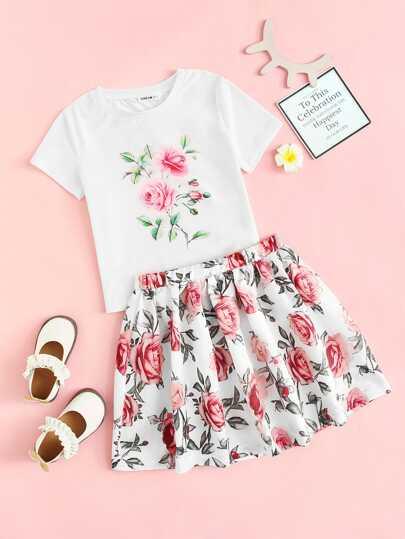 13998a91bd74 Girls Floral Print Top & Skirt Set
