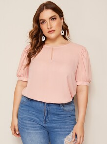 Plus Keyhole Neck Puff Sleeve Top