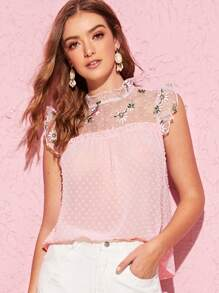 Mock-Neck Embroidery Mesh Yoke Swiss Dot Top