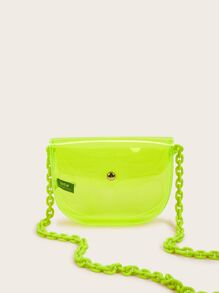 Neon Lime Chain Strap Clear Crossbody Bag