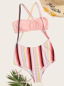 Bandeau Top With Striped Suspender Two Piece Swim