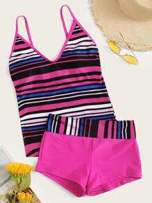 Striped Contrast Piping Top With Shorts Tankini Set