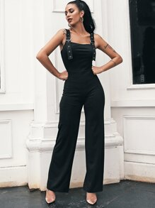 Glamaker Solid Adjustable Strap Straight Leg Tank Jumpsuit