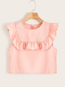 Ruffle Trim Buttoned Back Smock Blouse