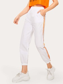 Side Stripe Tape Crop Sweatpants